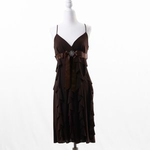 Betsy & Adam Cocktail Spaghetti Strap Dress Brown